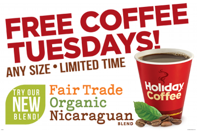 Free Coffee Tuesday at Mega! Co-op Holiday